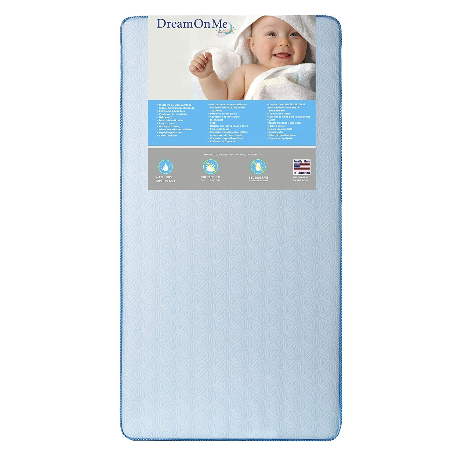 Dream On Me Crib and Toddler, 130 Coil Mattress, Moonlight 150-130