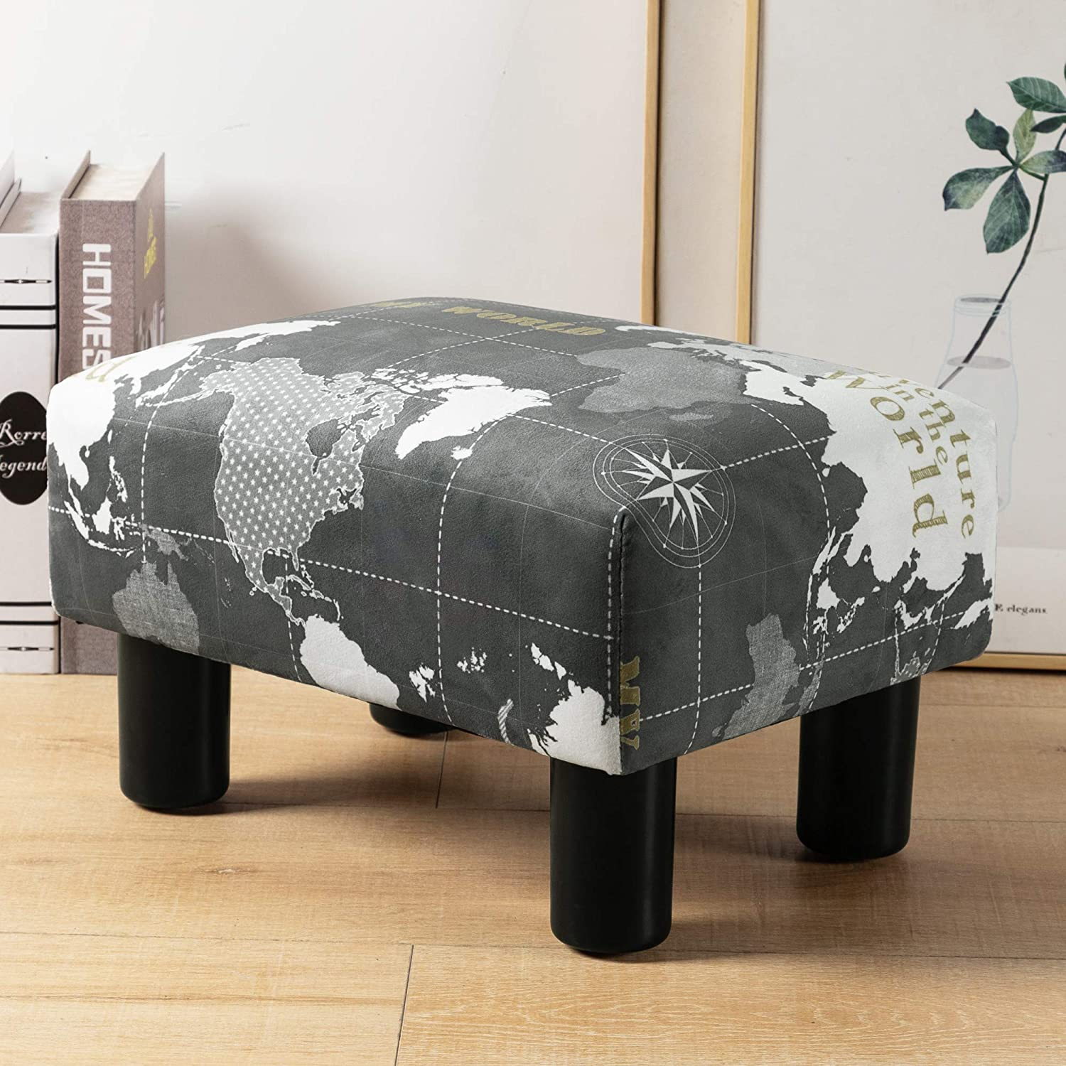 Small Rectangle Foot Stool, Gray World Map Footrest Small Ottoman Stool with Non-Skid Plastic Legs, Modern Rectangle Footstools Small Step Stool Ottoman for Couch, Desk, Office, Living Room, Dogs
