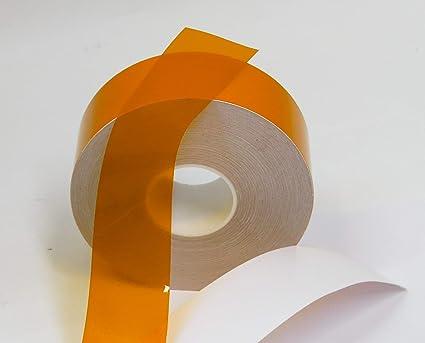 Transparent Vinyl Tape with Self-Adhesive  (3 inch x 25 ft, Orange)
