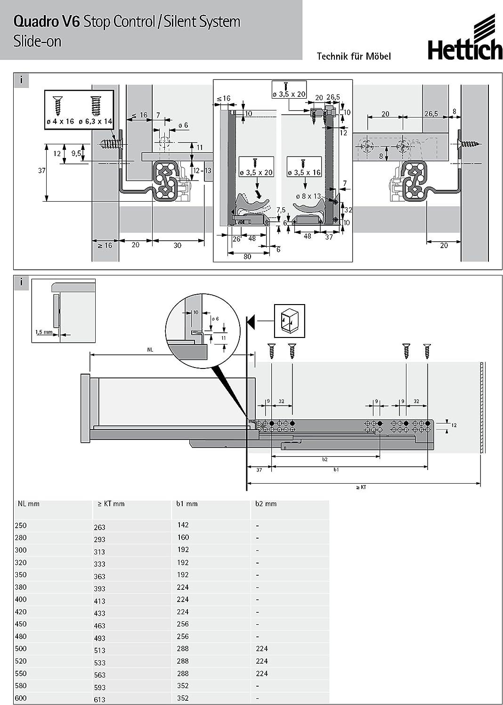 WeRo-Set Hettich Vollauszug f/ür Holzschubk/ästen Quadro V6-045289 mit Softclose-Einzug im Set inklusive Schn/äpper und Euroschrauben NL= 400 mm
