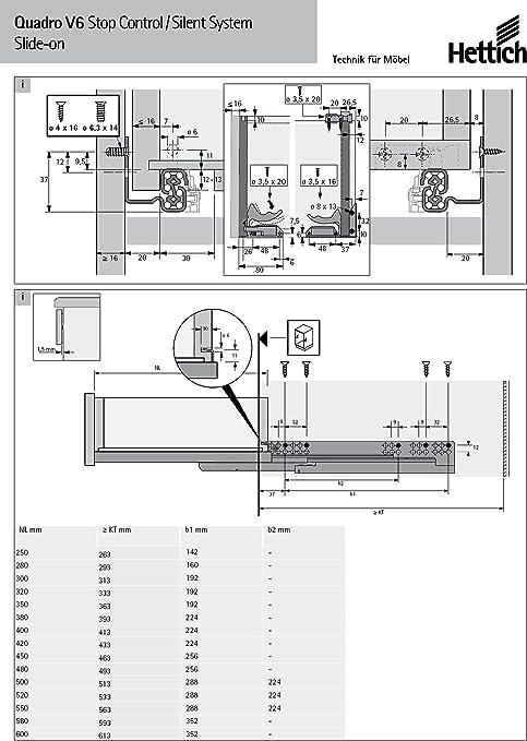 Hettich QUADRO V6//580 EB20 30kg Silent System GVP inkl.Schnäpper