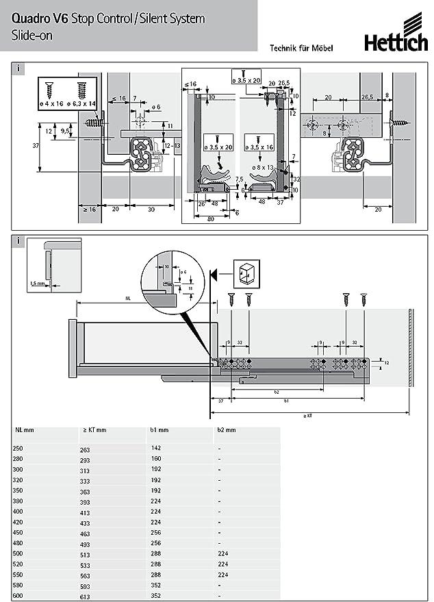 WeRo-Set Hettich Vollauszug f/ür Holzschubk/ästen Quadro V6-045284 mit Softclose-Einzug im Set inklusive Schn/äpper und Euroschrauben NL= 280 mm