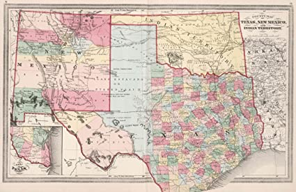 Amazon 1874 world atlas county map of texas new mexico and 1874 world atlas county map of texas new mexico and indian territory gumiabroncs Image collections