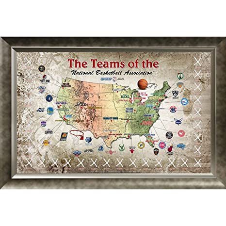 NBA Basketball Game Used Net 20x32 Framed Map at Amazon\'s ...