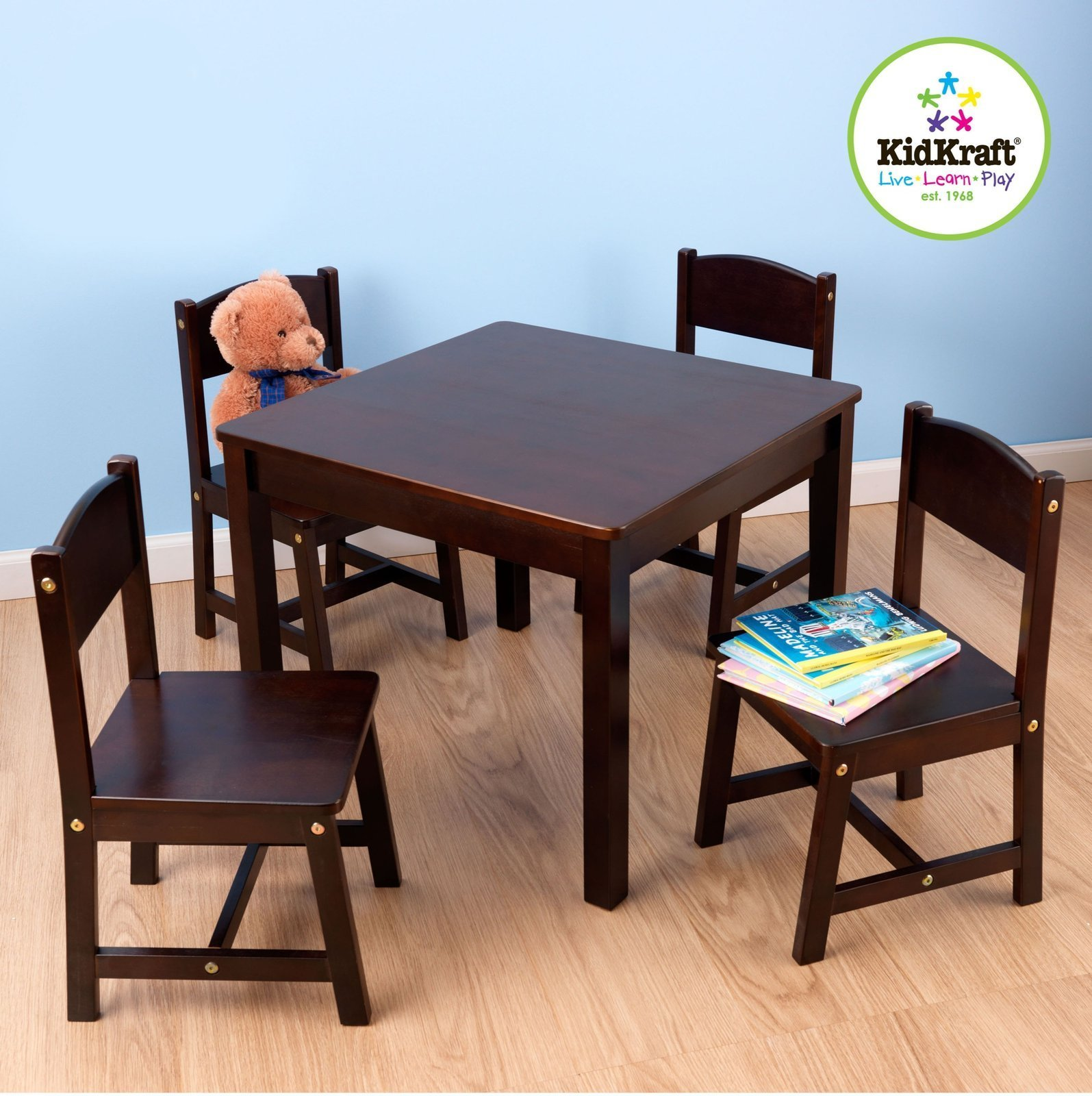 Farmhouse Table and 4 Chairs Set Children Play Reading Writing Study Table Set & Farmhouse Table and 4 Chairs Set Children Play Reading Writing Study ...