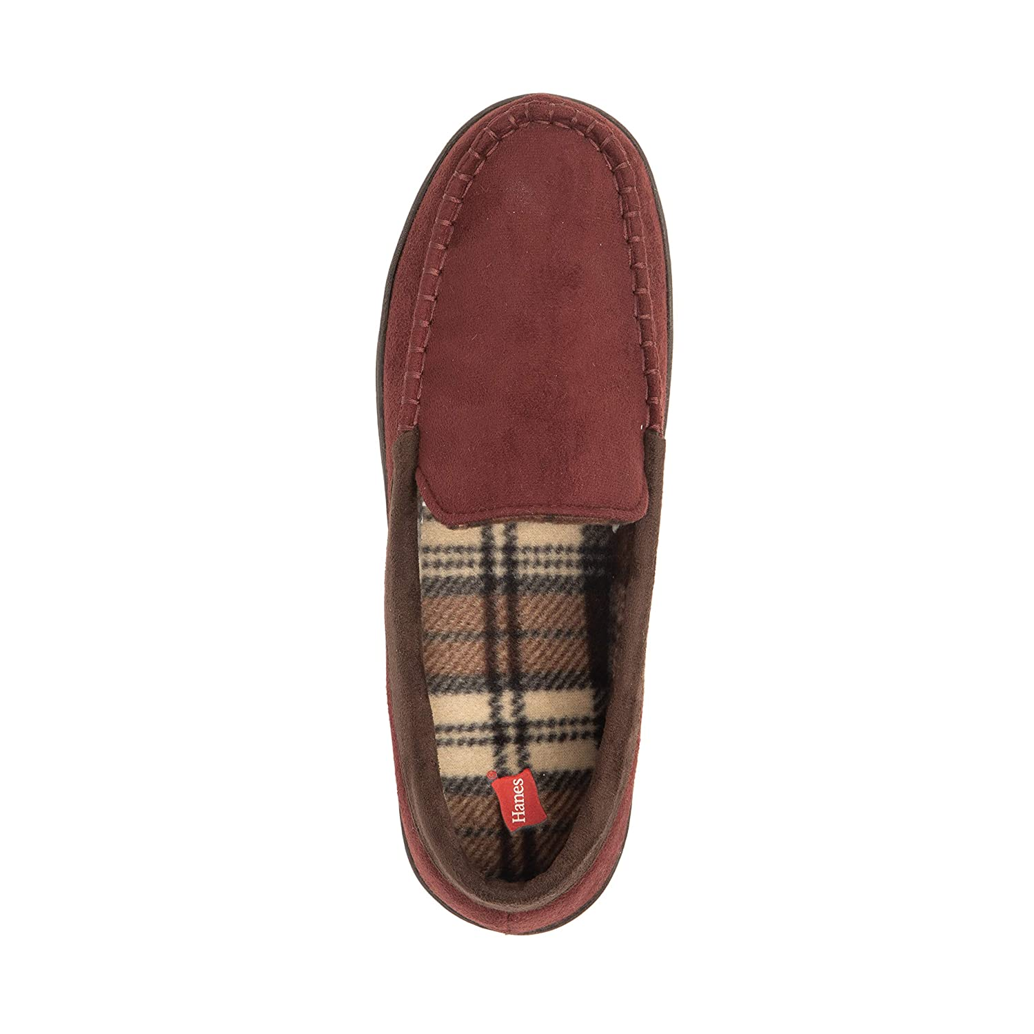 Hanes Mens Moccasin Slipper House Shoe with Indoor Outdoor Memory Foam Sole Fresh IQ Odor Protection