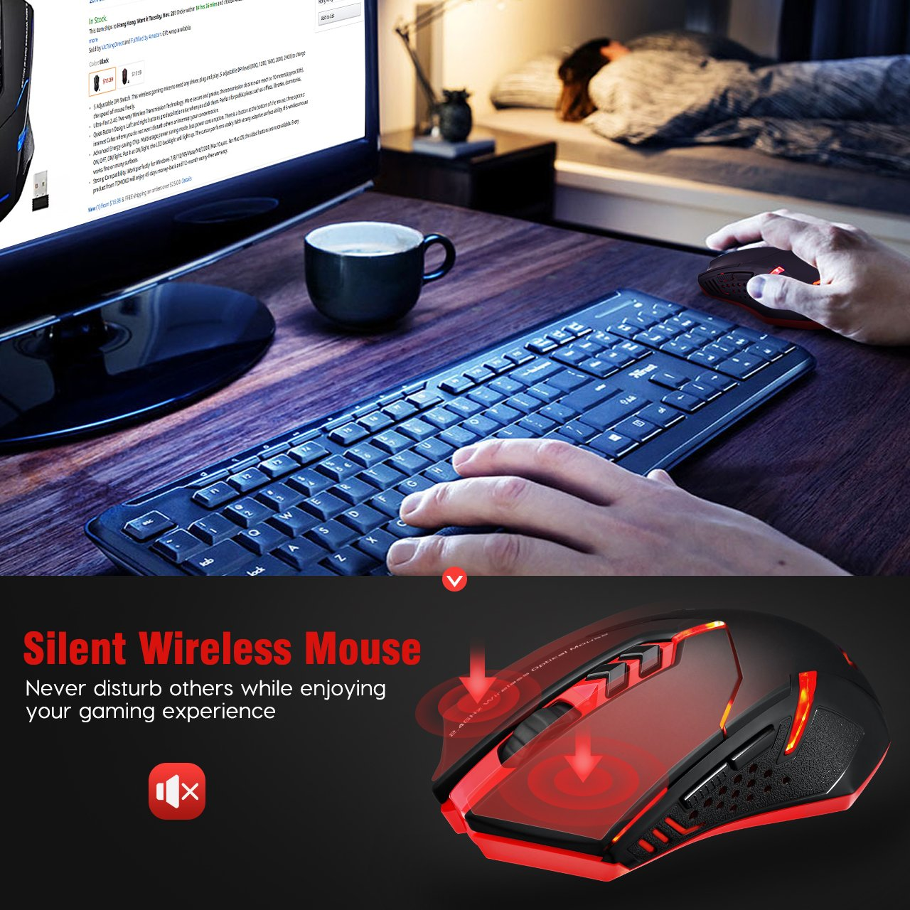 PICTEK Wireless Gaming Mouse, Silent Click, Side Buttons, 2 4G Cordless  Computer PC Gaming Mouse Laptop USB Mice, Advanced 2400 DPI Optical Sensor,