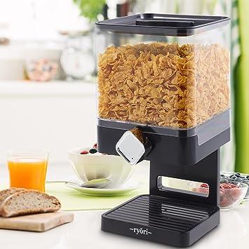 Ryori Kitchen - Dispensador de cereales cuadrado de plástico transparente y seco, mantiene los alimentos frescos y geniales para control de porciones suelto ...
