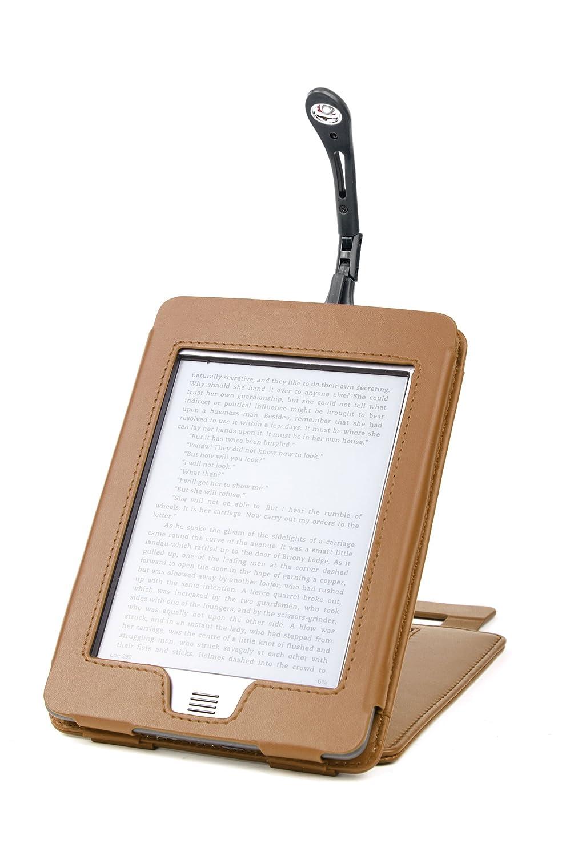 DURAGADGET Funda Marr/ón De Cuero Con Soporte Para El Nuevo Kindle Touch + Luz LED De Lectura Clip On Negra Wi-Fi,6 De /Última Generaci/ón, Marzo 2012