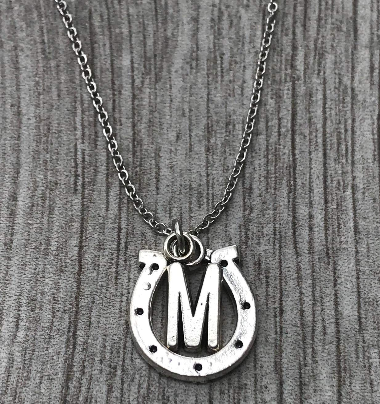 Amazon Com Personalized Horse Necklace With Letter Charm Pet Horse Jewelry Racing Horse Pendant Equestrian Gift Ideas Horseshoe Charm Necklace Handmade