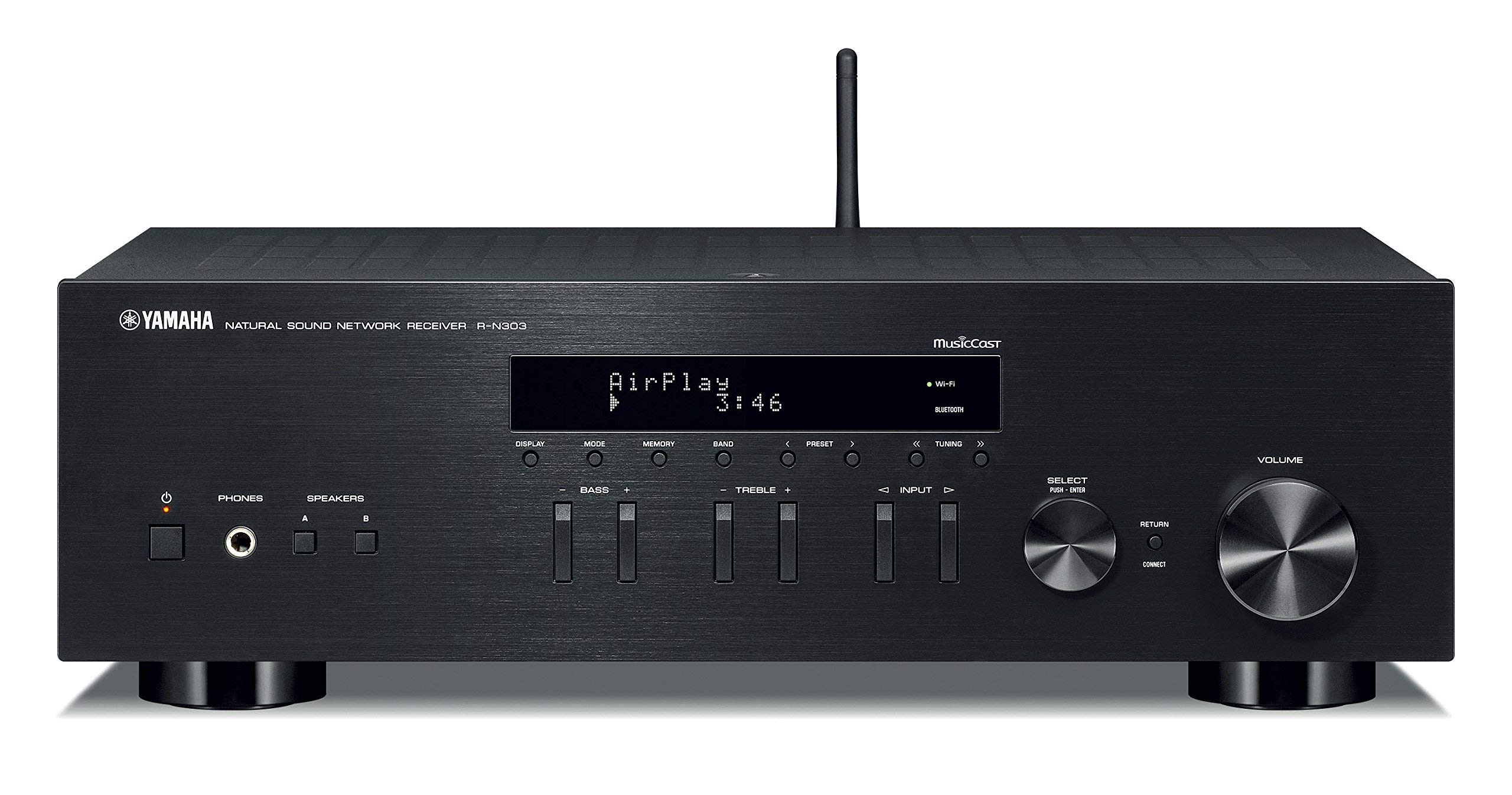 Yamaha R-N303BL Stereo Receiver with Wi-Fi Bluetooth & Phono Black, Works with Alexa (Renewed)