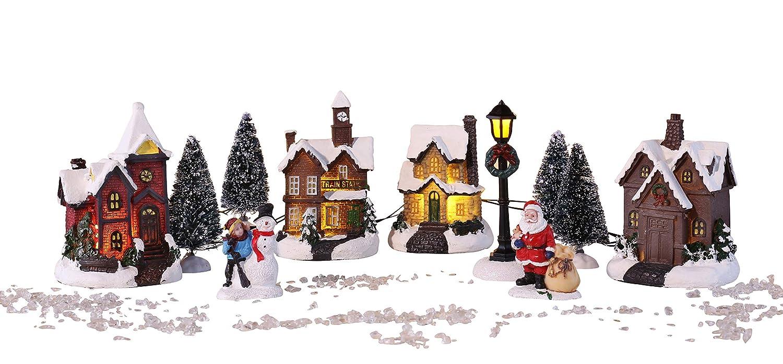 Weihnachtsstadt mit Schneedekoration Weihnachtsdorf LED Lichthäuser ...