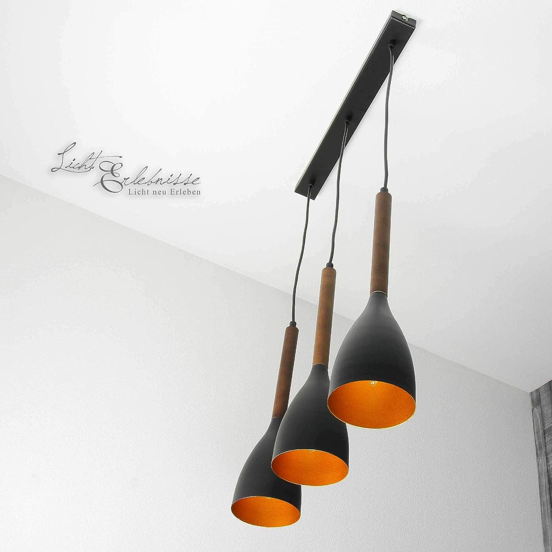 Formschöne Hängeleuchte in Gold Schwarz Vintage Stil inkl. 3x 12W E27 LED 230V Pendelleuchte aus Metall höhenverstellbare Hängelampe für Wohnzimmer Esszimmer Küche Lampe Leuchten Beleuchtung
