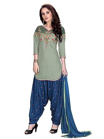 8bc2f234f8 velina Patiala Salwar Embroidered Cotton Salwar Kameez Suit India/Pakistani  Dress (S-38, Grey): Amazon.co.uk: Clothing