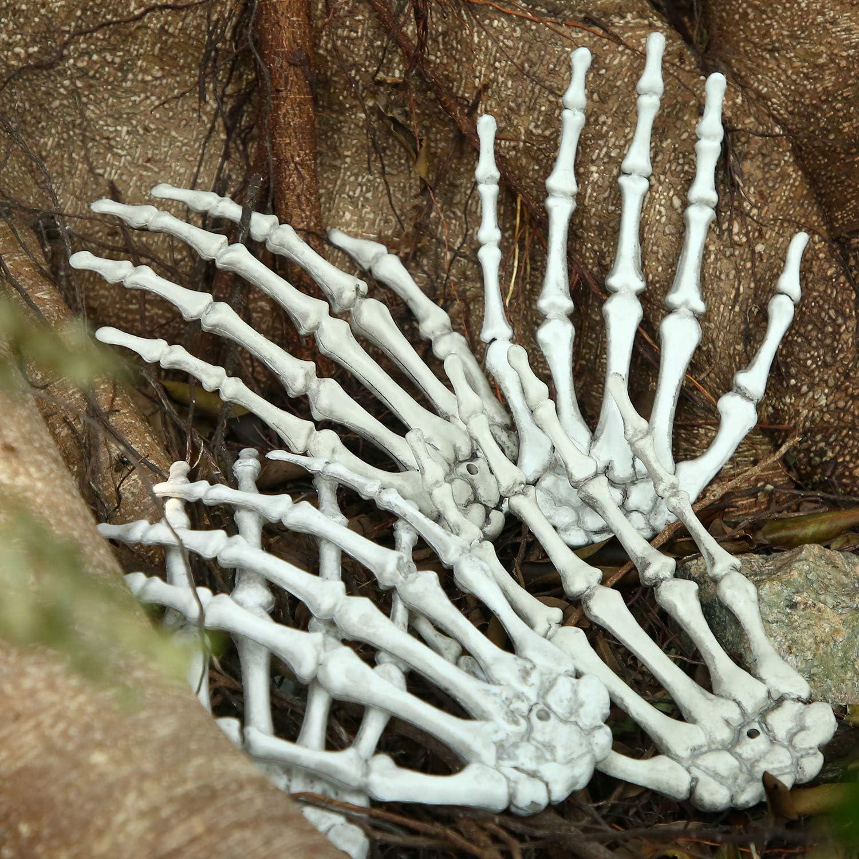 10 Piezas de Manos de Esqueleto de Halloween Hueso de Mano de Humanos de Plástico Accesorios de Fiesta de Zombi de Terror