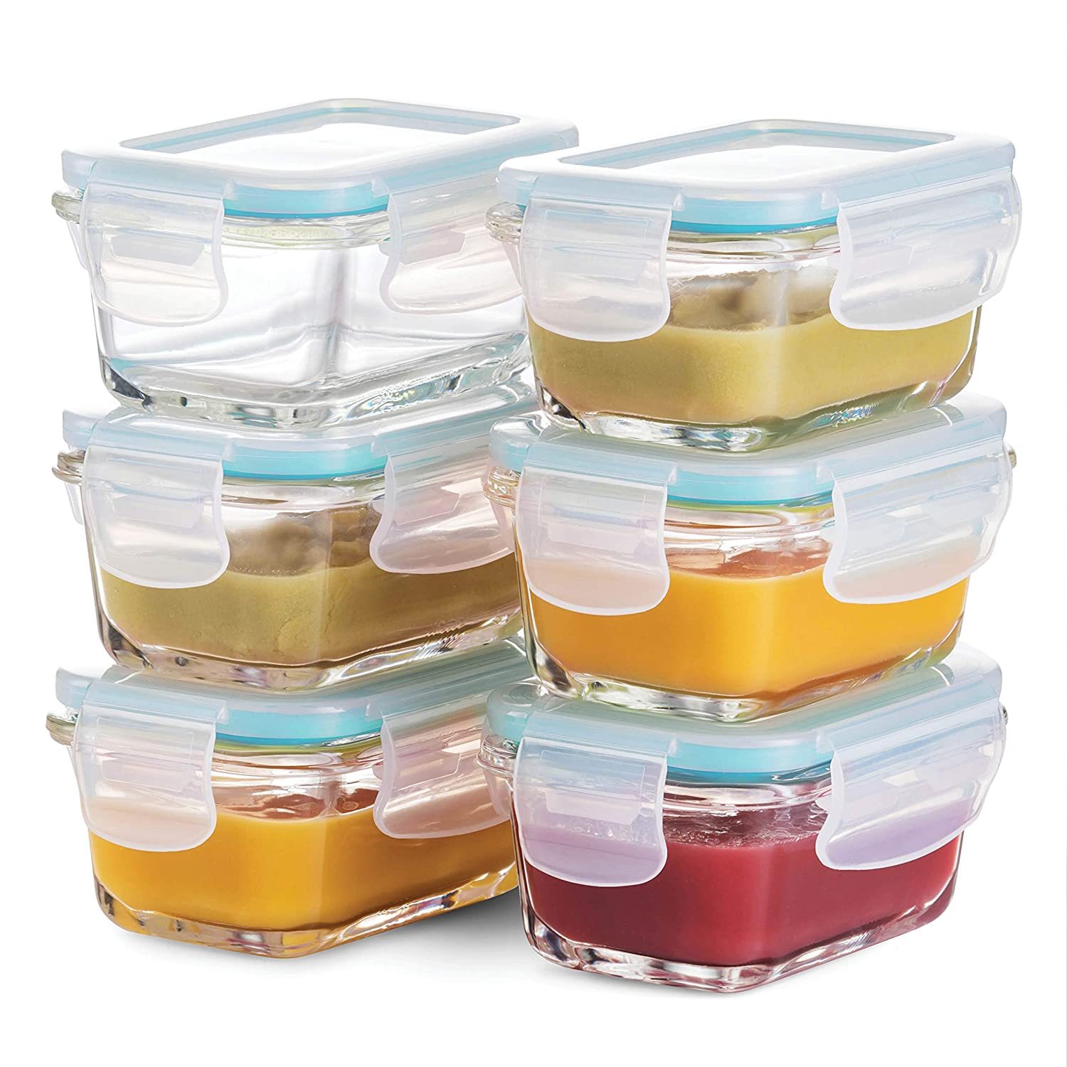 Superior Glass Baby Food Storage Containers - Set of 6-4 Oz Containers with Airtight BPA-Free Locking Lids - Baby Food containers - Microwave & Dishwasher Safe - Small Containers for Snacks Dips etc