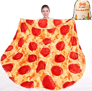 mermaker Pizza Blanket 2.0 Double Sided 71 inches for Adult and Kids, Novelty Realistic Pizza Food Throw Blanket, 285 GSM Soft Flannel Blanket