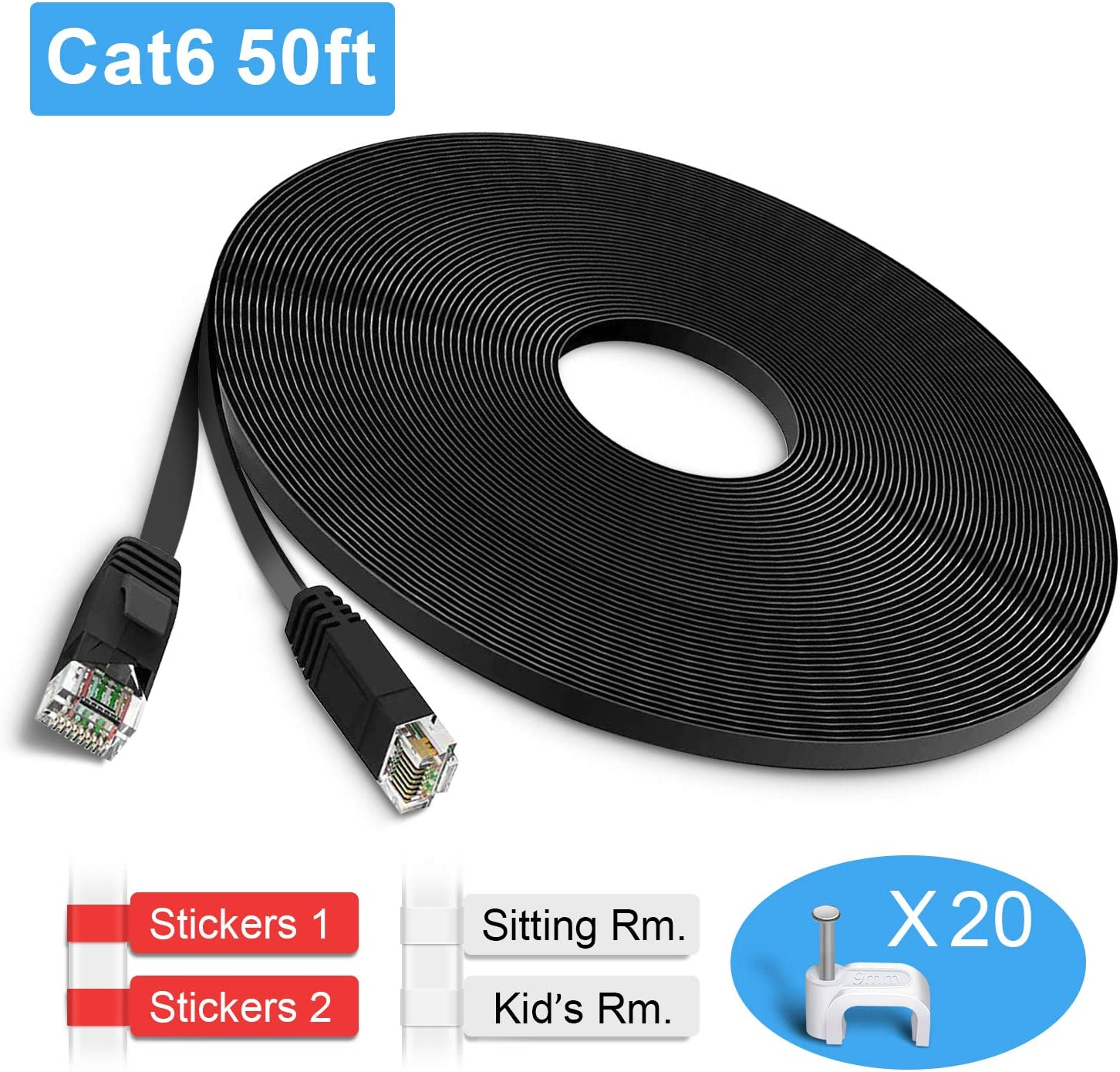 LAN Cable for Computer//Router Faster Than Cat5e//Cat5 -White Cat 6 Network Cable with Clips//RJ45 Connectors TBMax Cat6 Ethernet Cable Flat 50ft