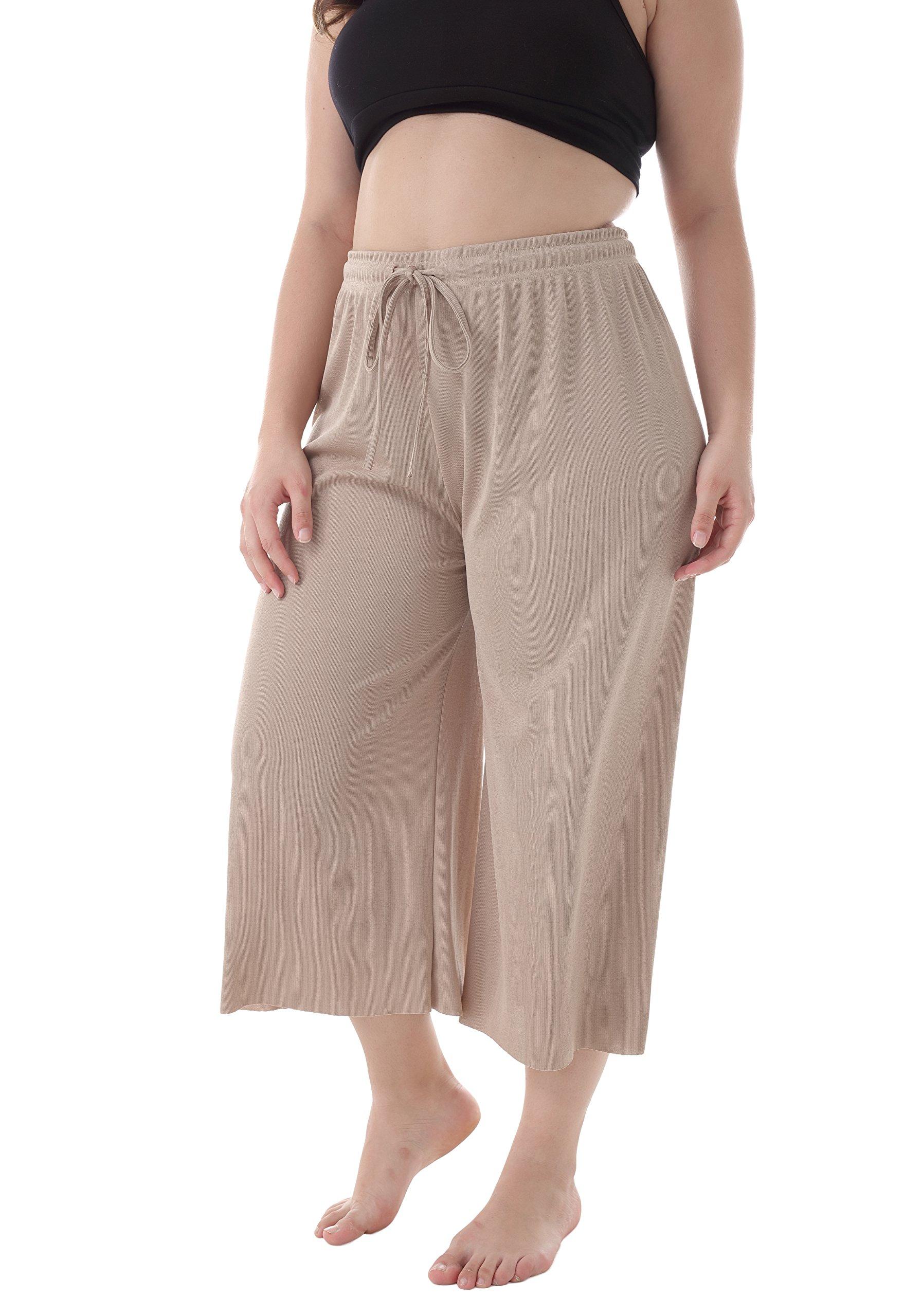 ZERDOCEAN Women's Plus Size Drawstring Wide Leg Relaxed Lounge Capris with Pockets Khaki 1X