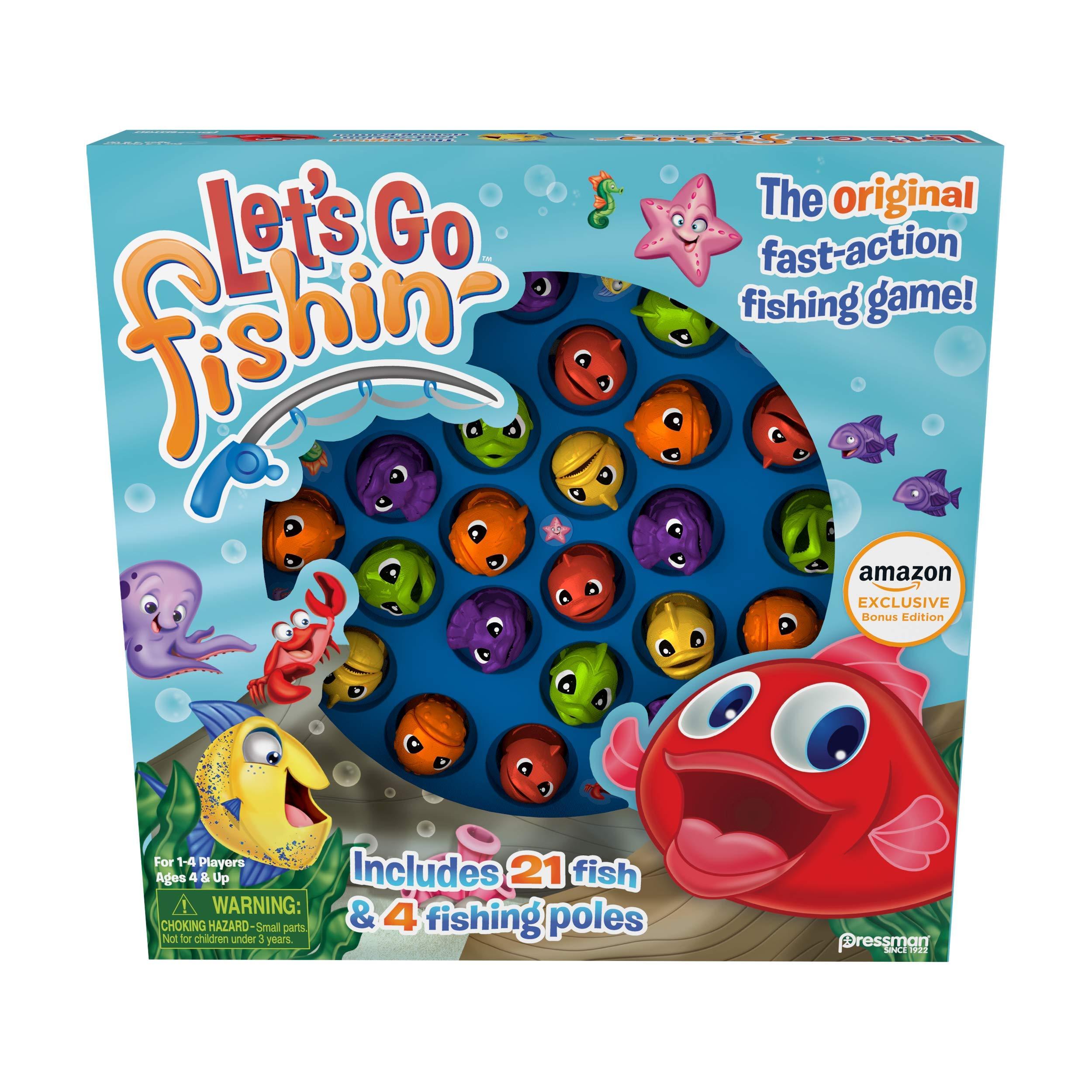 Pressman Amazon Exclusive Bonus Edition Let's Go Fishin' - Includes Lucky Ducks Make-A-Match Game!