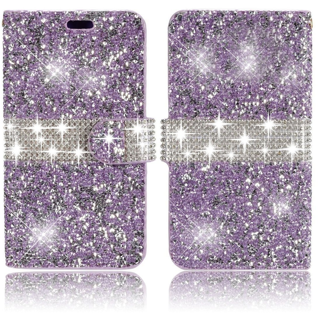 Apple iPhone 6 6s 4.7 inch Wallet Case, Vandot Premium 3D Diamond Bling Shining Sparkle Crystal Rhinstone Case Cover PU leather Magnetic Closure Flip Folio Stand Book Style Anti-scratch Protective Skin Shell With Card Slots-Glitter Purple