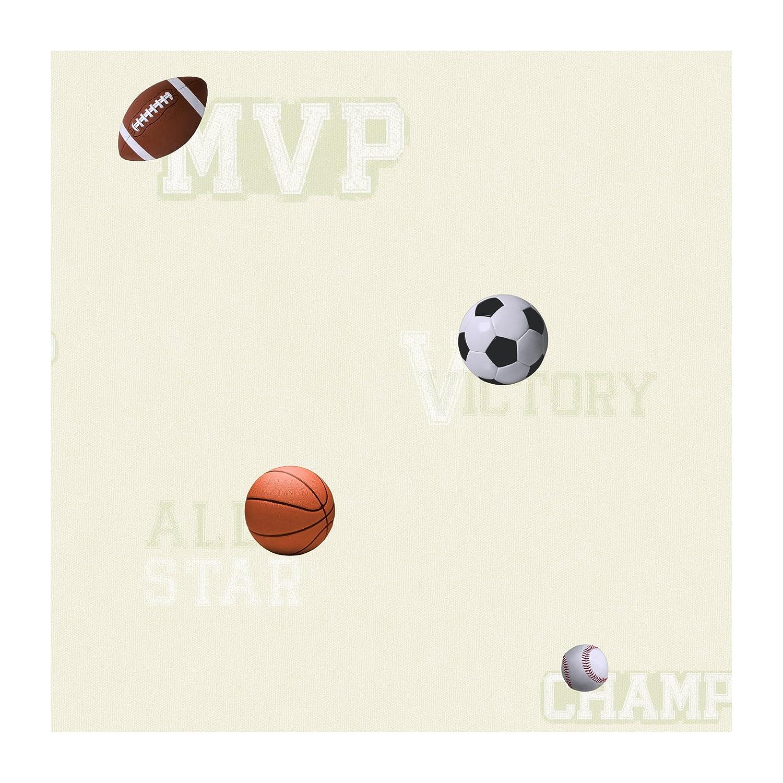 York Wallcoverings ZB3189SMP Sports Ball Boys Memo Sample 8-Inch X 10-Inch