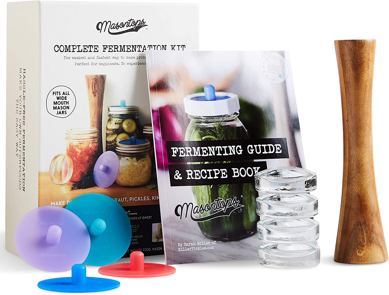 Kit Completo de Masontops de Mason Jar para Fermentación- Set de Frascos de Boca Ancha Fácil para la Fermentación Vegetal - Equipo esencial de DIY