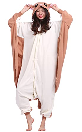 Unisex Adult Animal Pajamas Plush One Piece Cosplay Flying Squirrel (140-187cm)