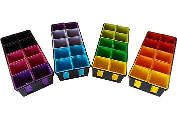 Maceta de plástico de colores (x40) de 8x8x7 cm y 4 bandejas negras de