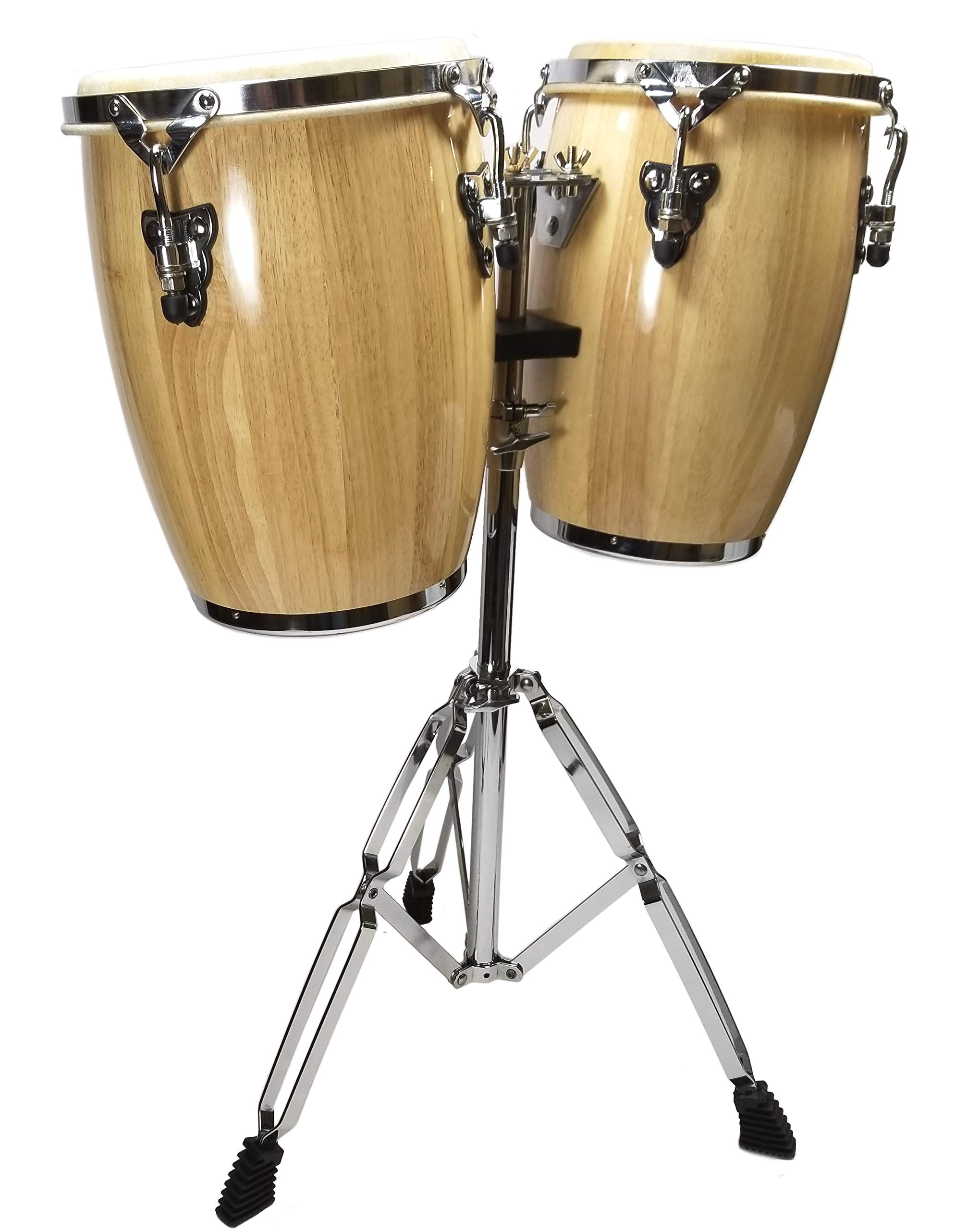 NATURAL CONGA DRUM SET - 9'' and 10'' inch HEADS + STAND