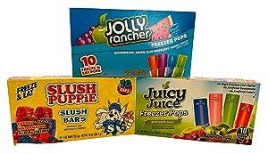 Freeze Pop Bundle: Includes a total of 30 Freezer Pops (10 Jolly Rancher, 10 Slush Puppie and 10 Juicy Juice Assorted Freezer Pops)