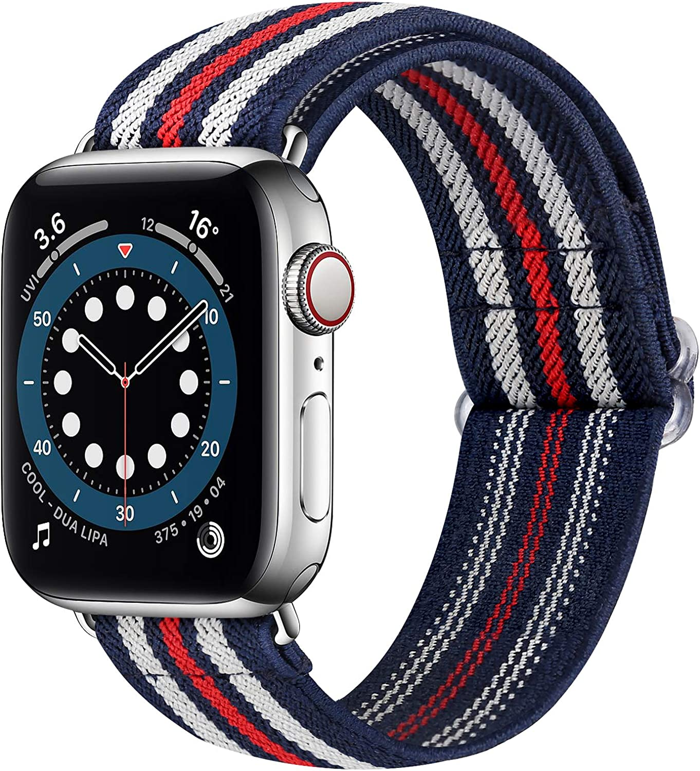 Runostrich Nylon Elastic Watch Band Compatible for Apple Watch 40mm 38mm, Stretchy Adjustable Sport Loop Replacement Strap for iwatch Series 1/2/3/4/5/6/SE