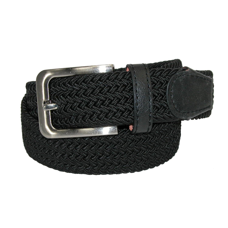 CTM® Men\'s Elastic Braided Stretch Belt with Silver Buckle, M 34-36, Black RR-7001N-BLK-M