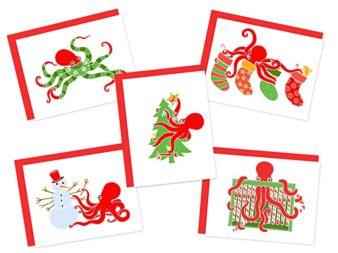 Christmas Card Clip Art.Set Of 5 Octopus Holiday Cards Christmas Greeting Card Pack Recycled Christmas Cards