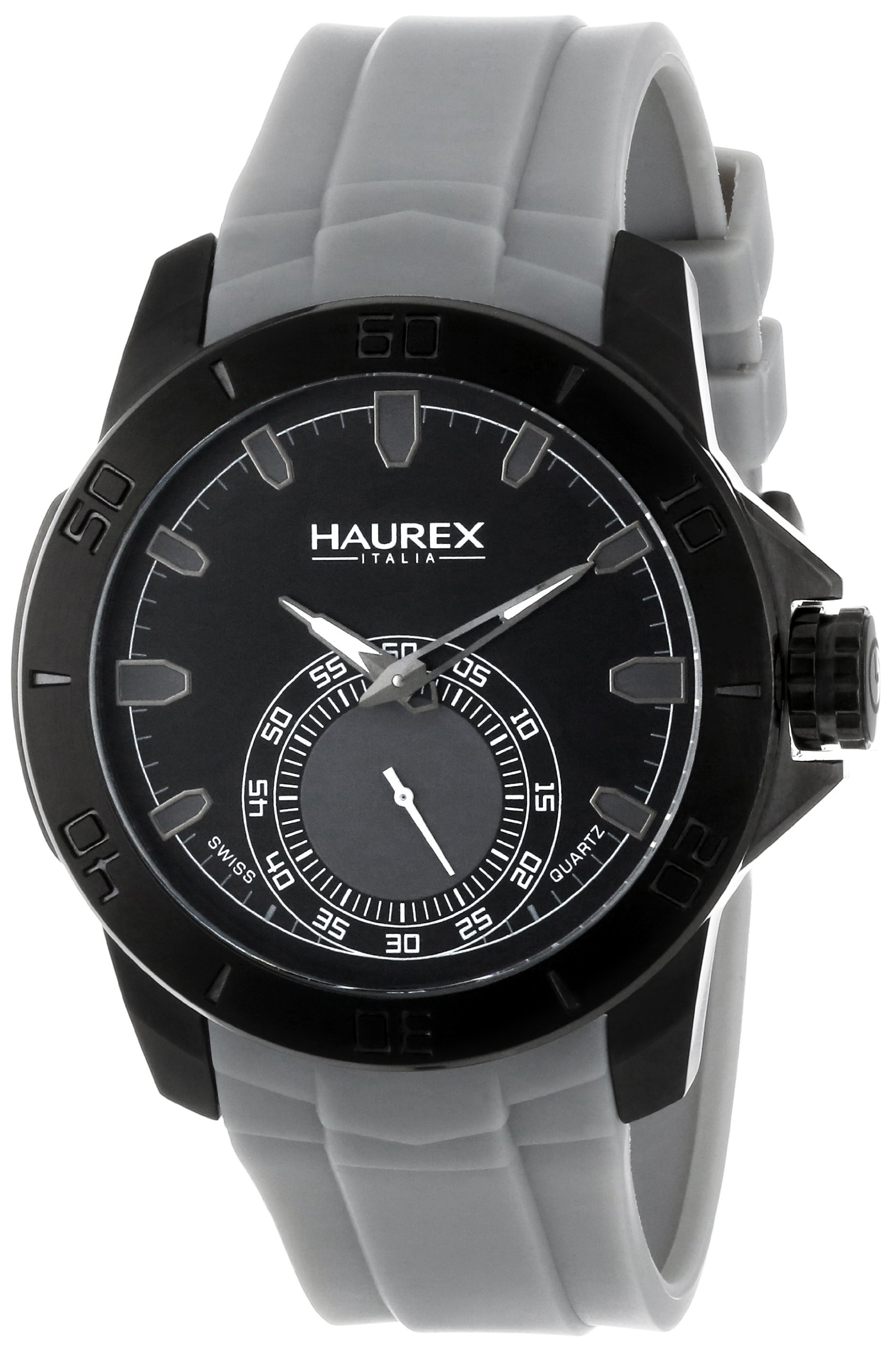 Haurex Italy Men's 3N503UJJ Acros Black Ion-Plated Coated Stainless Steel Grey Rubber Strap Watch