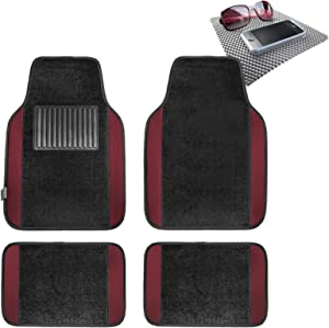 TLH Carpet Floor Mats with Colored Trim, Burgundy Color w/Gray Dash Pad