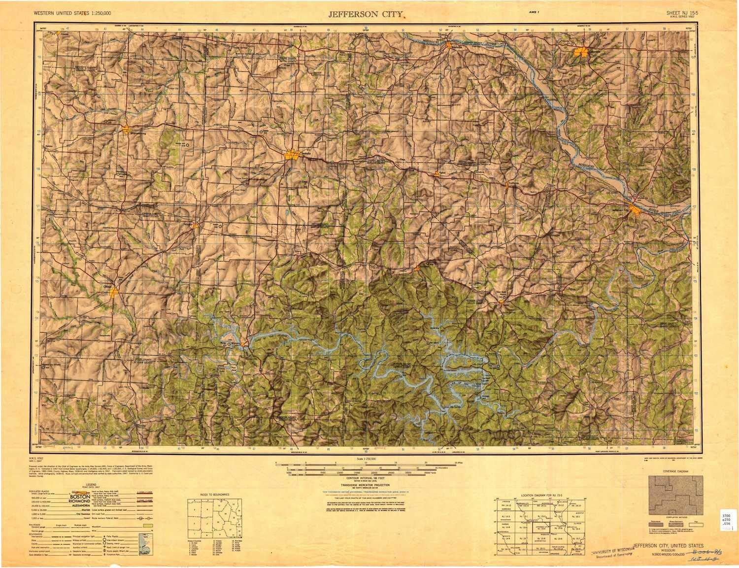 YellowMaps Jefferson City MO topo map, 1:250000 Scale, 1 X 2 Degree, Historical, 1947, Updated 1949, 24 x 31.5 in