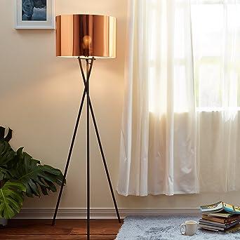 92afdc3c Lampadaire Cara Trépied Lampe De Sol Sur Pied Abat-jour Cuivré VN-L00002-