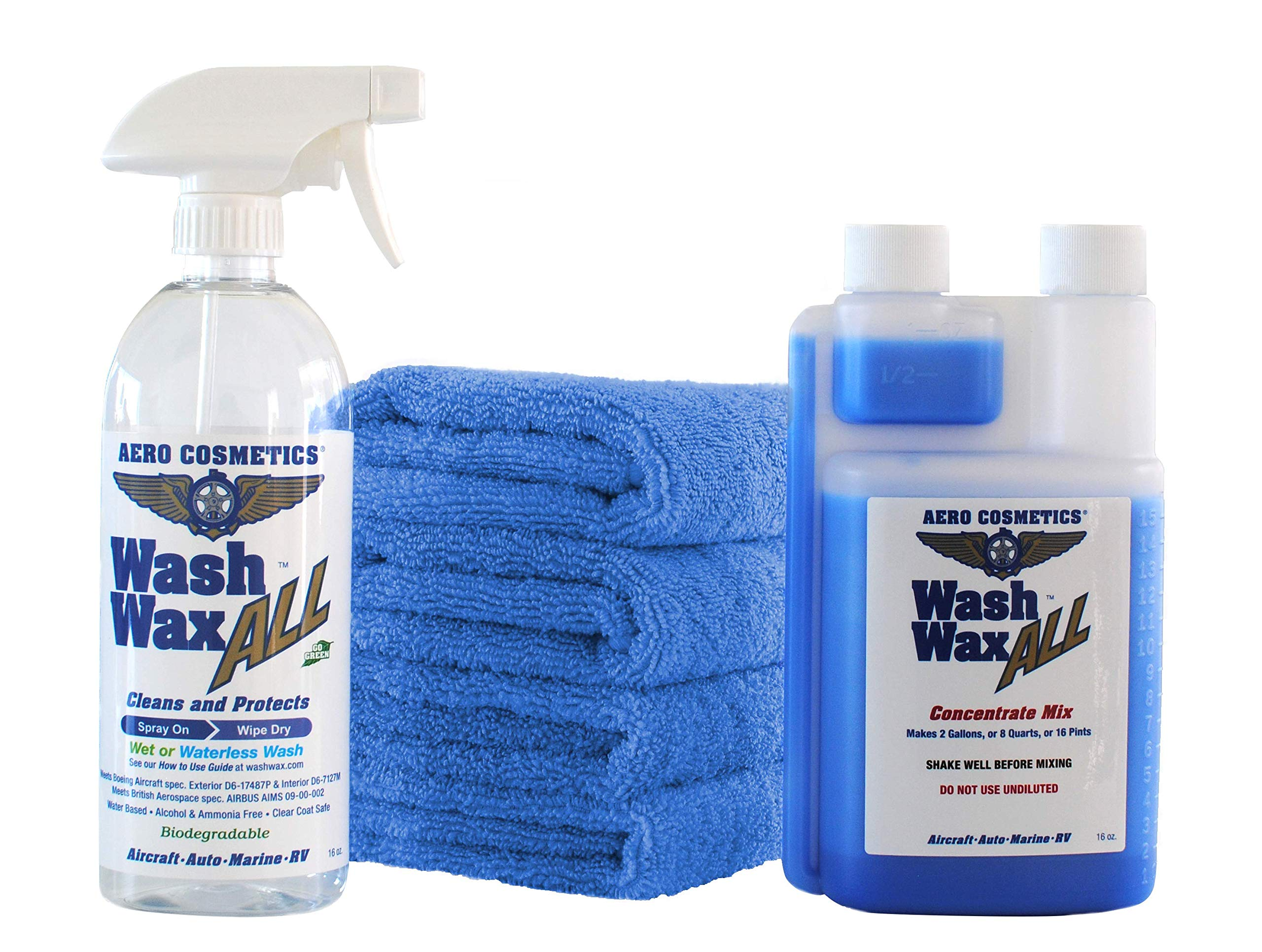 Aero Cosmetics Wet or Waterless car Wash Wax Kit with 2 Gallon Concentrate for Aircraft RV Boat
