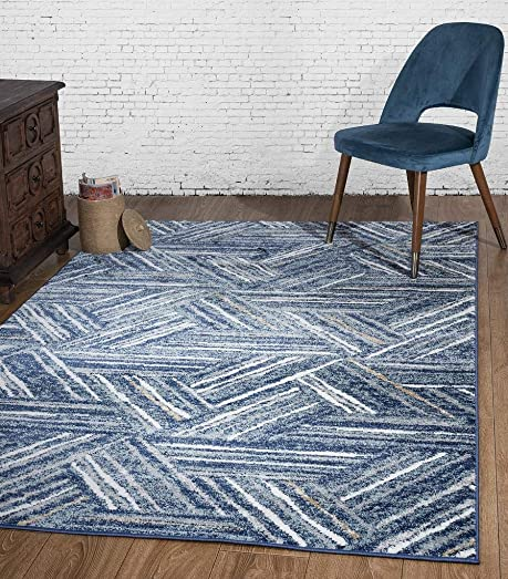 Luxe Weavers Hampstead Abstract Blue 8×10 Area Rug