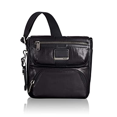 b2ff54f34e2c TUMI - Alpha Bravo Barton Crossbody Bag - Leather Satchel for Men and Women  - Black