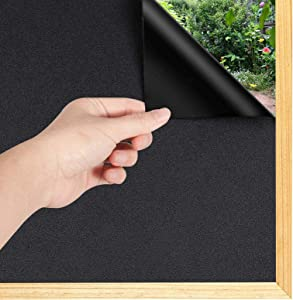 Total Blackout Window Film 100% Light Blocking Room Darkening Static Cling Heat Control Window Sticker for Day Sleep, Home Security, Removable UV Prevention Treatment, 23.6 x 78.7 inches