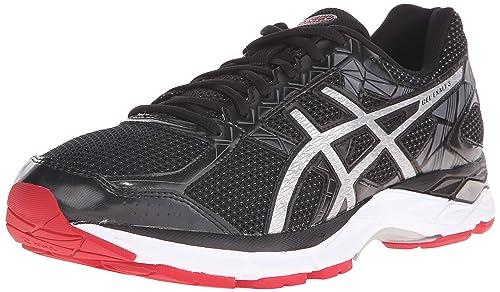 ASICS Men's GEL Exalt 3 Running Shoe, Black/Silver/Racing Red, 6.5