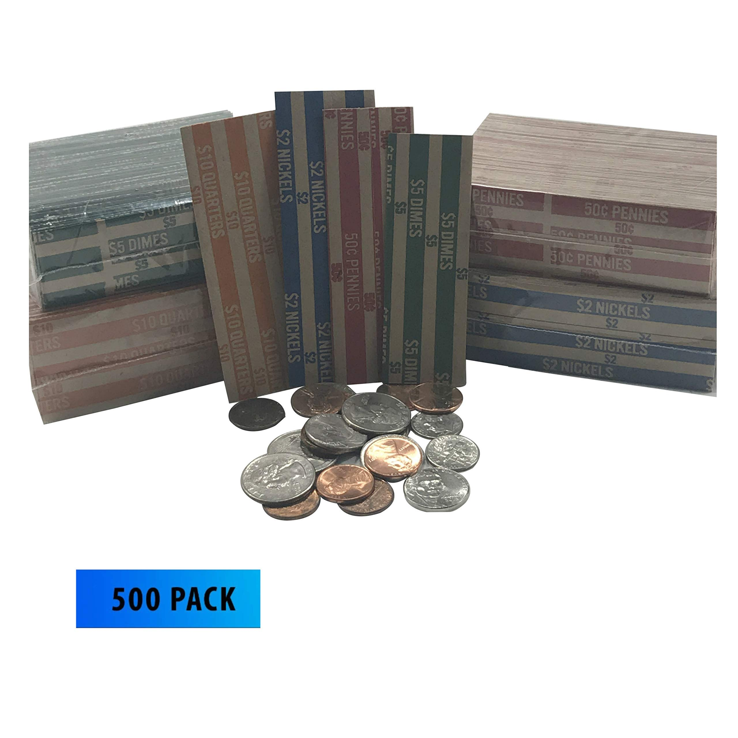 Coin Rollers Wrappers Assorted Quarter Dime Nickel Penny 500 Total 125 of Each Flat Striped