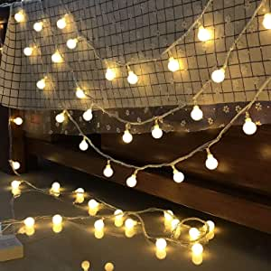 Alderaian Ball String Lights, LED Globe String Lights Ball Fairy Lights, Weatherproof Hanging Lights Decor, Indoor Outdoor Decorative Hanging Lights for Party Tree Garden Patio, Warm White