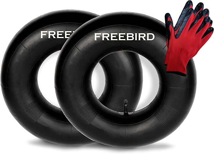 "FreeBird 2 Pack of 13x5.00-6"" Replacement Inner Tubes for Pneumatic Tires with TR-13 Valve Stem Complete with Gloves Set"
