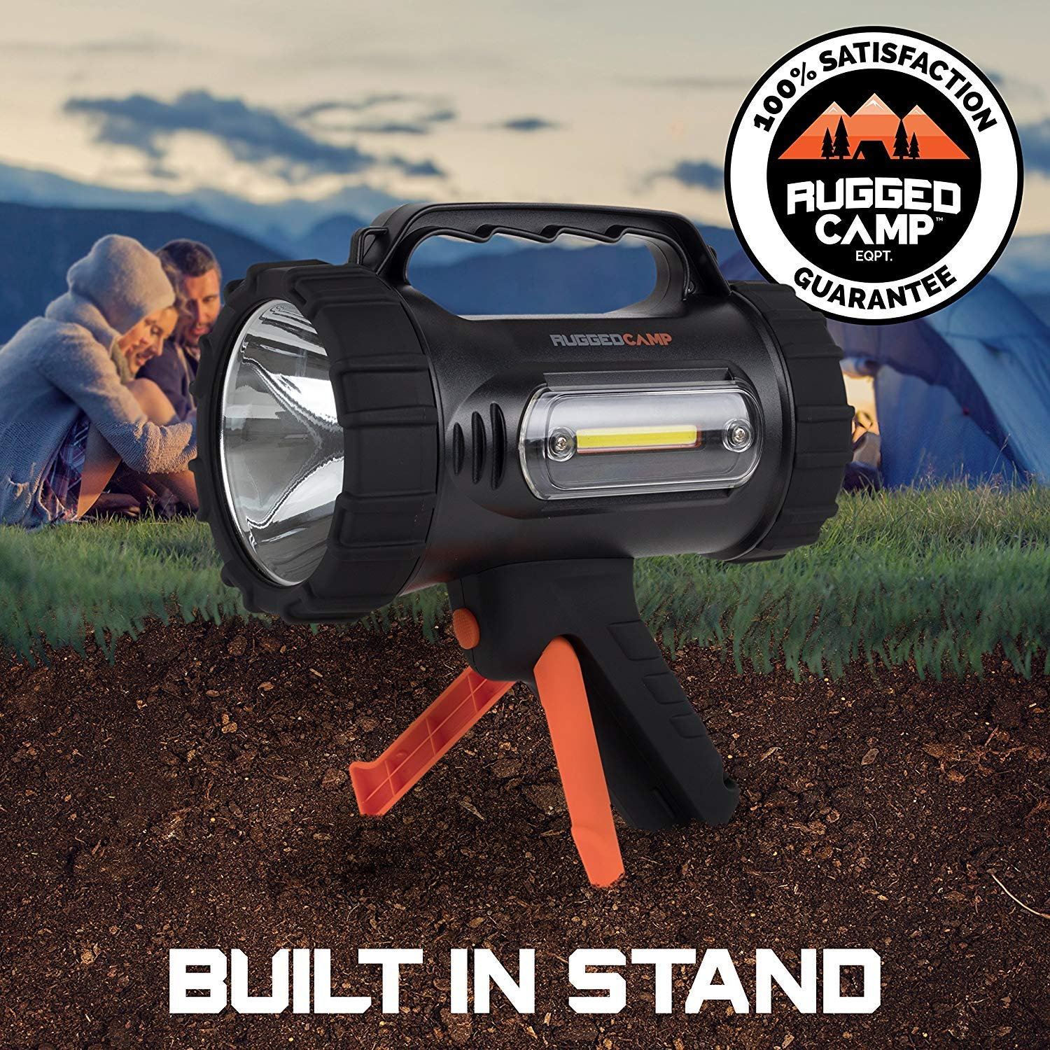 Rugged Camp Titan X10 Rechargeable Spotlight - 1000 Lumens - High Powered 10W LED Bright Flashlight - Work Light & Tripod - Perfect for Camping, Hiking, Hunting, Emergencies & Outdoors (Black/Orange) by Rugged Camp (Image #6)