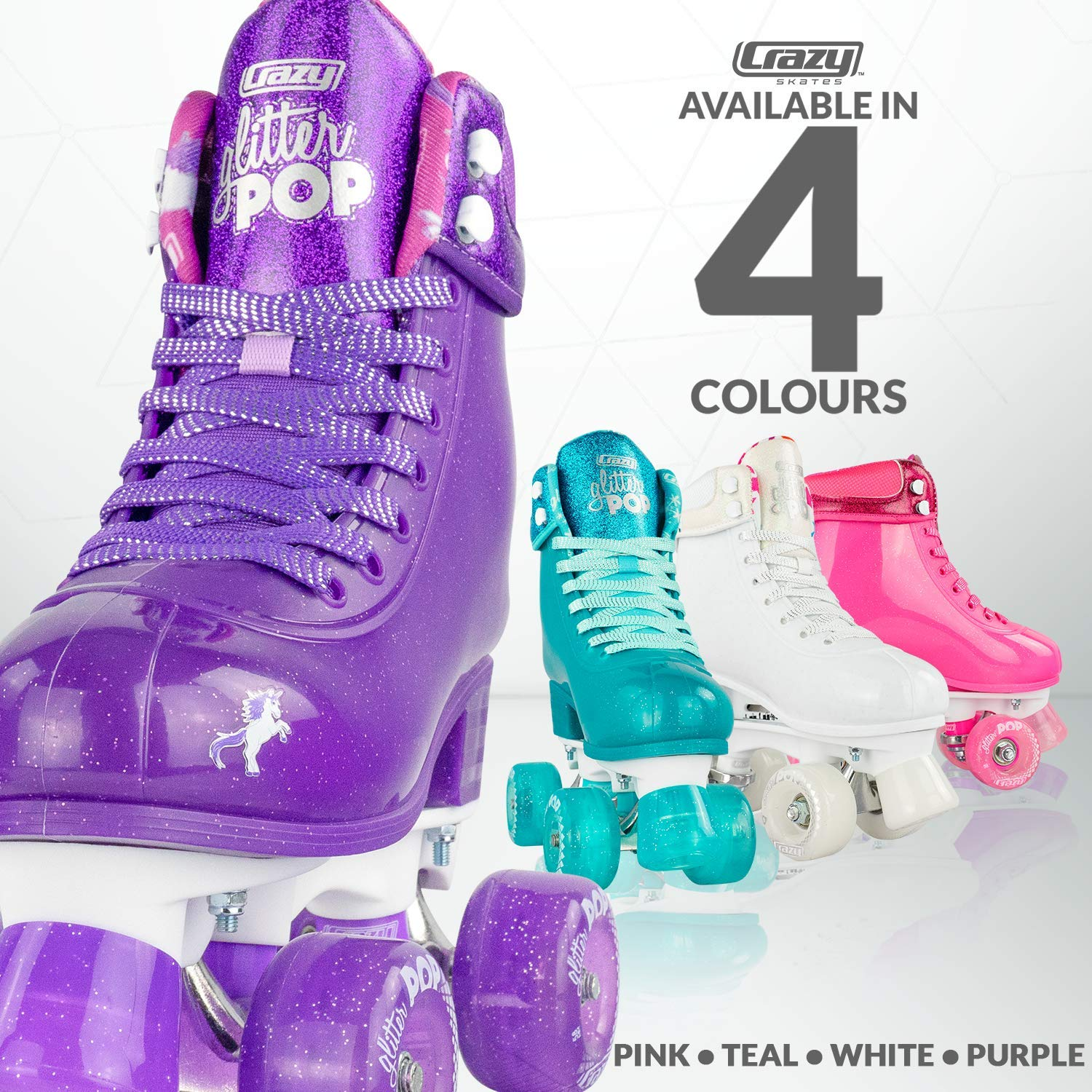Crazy Skates Glitter POP Adjustable Roller Skates for Girls and Boys | Size Adjustable Quad Skates That Fit 4 Shoe Sizes | Purple (Sizes 3-6) by Crazy Skates (Image #4)