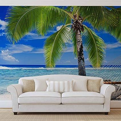 Spiaggia Di Sabbia Di Mare Palma Amaca Foto Carta Da Parete Immagine