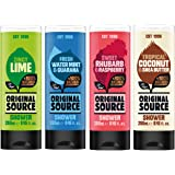 Original Source Shower Gel Set 4 x 250 ml NEW Fragrances Lime, Rhubarb & Raspberry, Water Mint & Guarana, Coconut & Shea Butter.